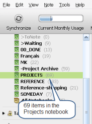 Closeup of Notebooks in Evernote's sidebar