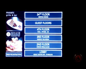 Screen-based electronic panel used to select elevator destinations at the Hyatt Vancouver Hotel.