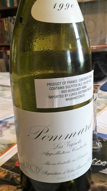 "1990 Domaine Leroy, Pommard ""Les Vignots""--a miraculously fresh and delicious village from a good vintage."