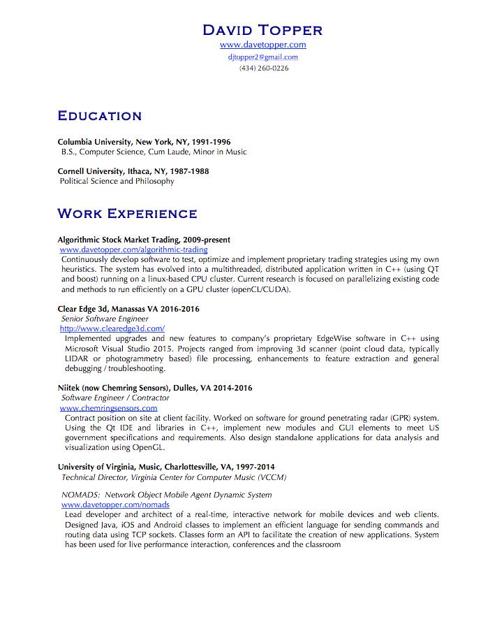 Resume – Dave Topper