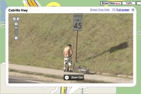 Man peeing, caught on Google Street View