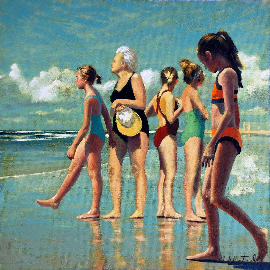"""David Ahlsted - """"By the Sea"""", Oil on Gessoed Paper, 23 x 23"""""""