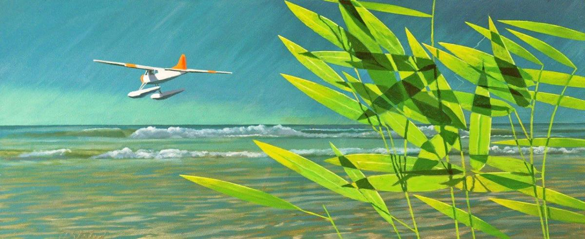 """David Ahlsted - """"Leaving Key Largo"""", Oil on Canvas, 20 x 48"""""""