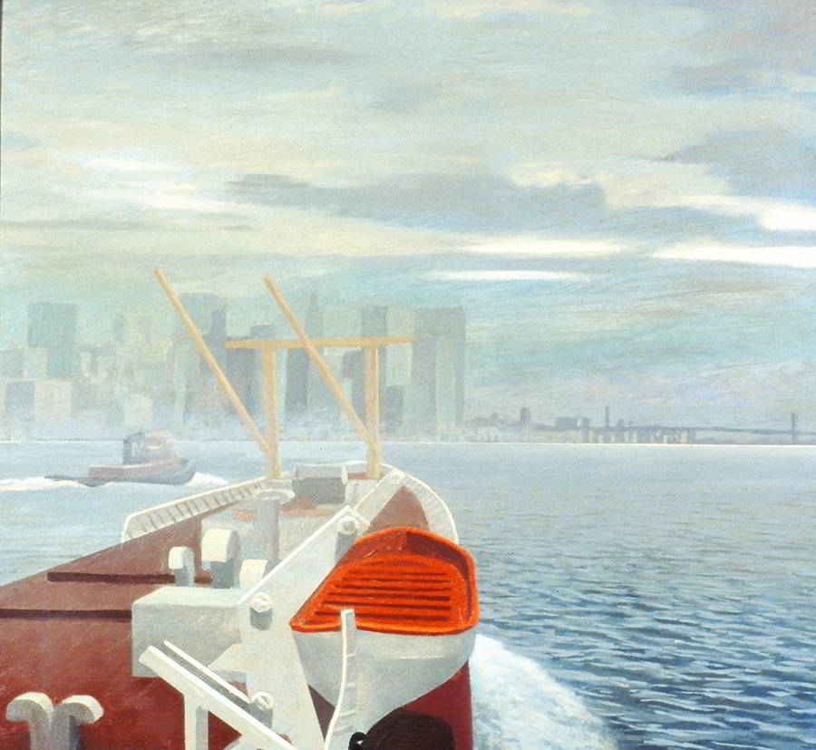 "David Ahlsted - ""Morning Arrival, East River"", Oil on Gessoed Paper, 23 X 23"""