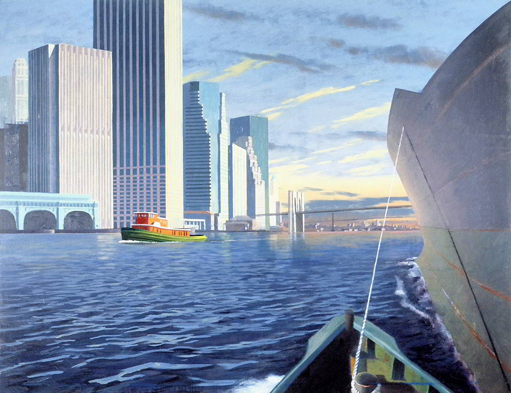 "David Ahlsted - ""Morning Arrival, New York"", Oil on Canvas, 48 x 60"""