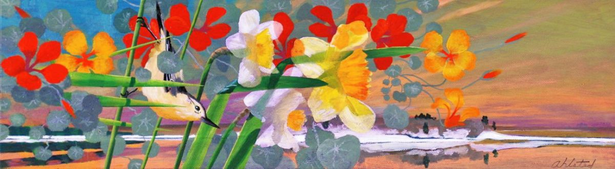 """David Ahlsted - """"North Country Spring"""", Oil on Board, 10 x 36"""""""