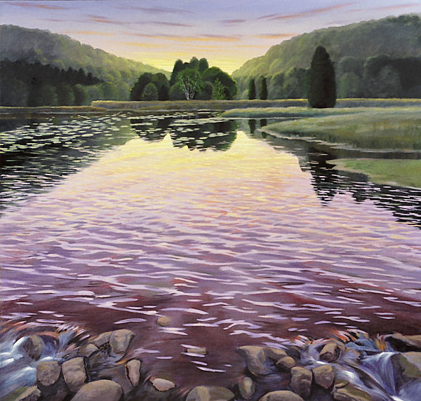 """David Ahlsted - """"Sunset, Batsto Lake"""", Oil on Canvas, 60 x 60"""""""