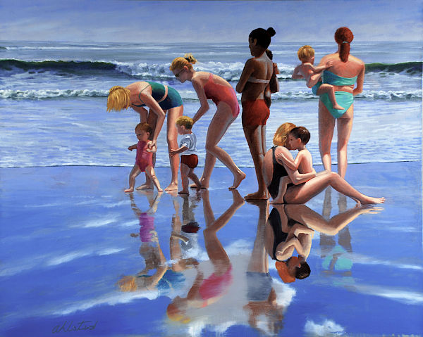 """David Ahlsted - """"Beach Day"""" Oil on Canvas, 48 x 60"""" - SOLD"""