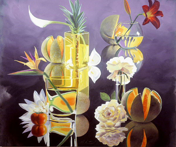 """David Ahlsted - """"Cantaloupes"""", Oil on Canvas, 52 x 60"""" - SOLD"""