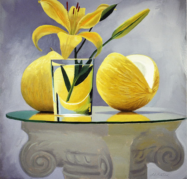 "David Ahlsted - ""Casaba Melon"", Oil on Canvas, 36 x 36"""