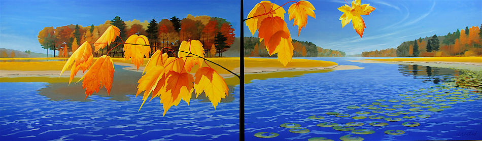 """David Ahlsted - """"Fall"""", Oil on Canvas, 6' 6"""" x 22' Installation"""