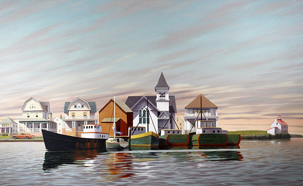 """David Ahlsted - """"Fishing Boats, East Point Light House, N.J."""" Oil on Canvas, 4 x 7 feet"""
