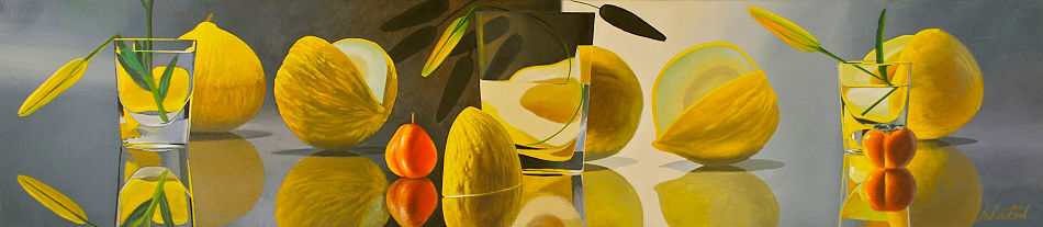 """David Ahlsted - """"Five Melons"""", Oil on Canvas, 20 x 90"""""""