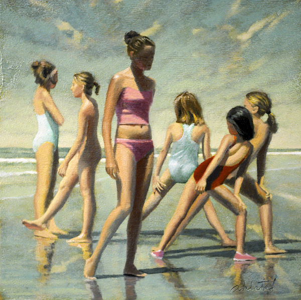 """David Ahlsted - """"Gymnasts"""" Oil on paper, 23 x 23"""" - SOLD"""