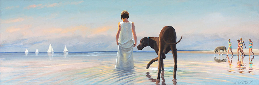"""David Ahlsted - """"Indian Summer's Day"""" Oil on Canvas, 20 x 58"""" - SOLD"""