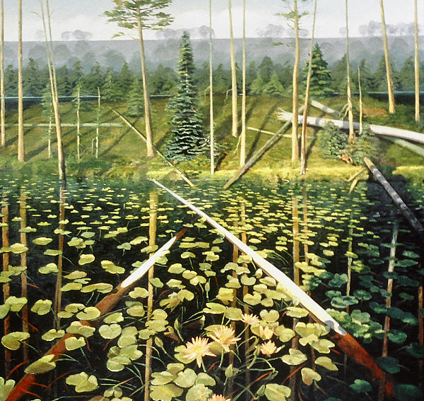 """David Ahlsted - """"Lily Pond, Lebanon State Forest"""", Oil on Canvas, 60 x 60"""""""