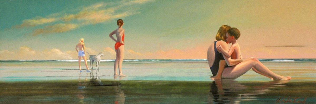 """David Ahlsted - """"Morning at the Shore"""" Oil on Canvas, 20 x 58"""""""
