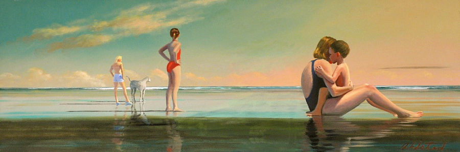 "David Ahlsted - ""Morning at the Shore"" Oil on Canvas, 20 x 58"""
