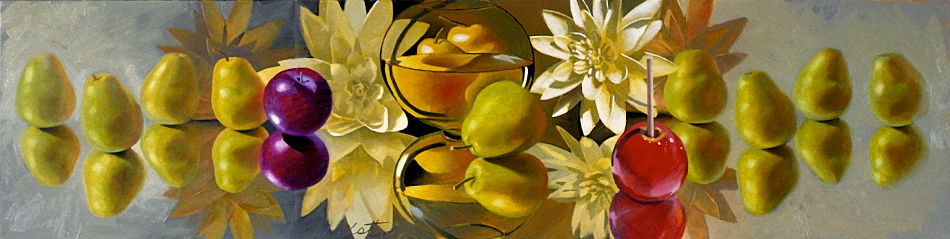 """David Ahlsted - """"Pear & Lily Frieze"""", Oil on Canvas, 18 x 72"""" - SOLD"""