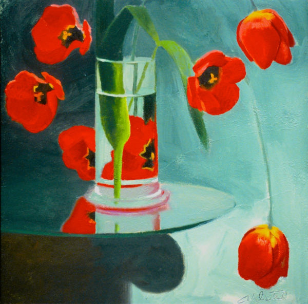 """David Ahlsted - """"Red Tulips"""", Oil on paper, 23 x 23"""". - SOLD"""