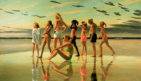 """David Ahlsted - """"Shark Warning"""" Oil on Linen, 48 x 82"""" - SOLD"""