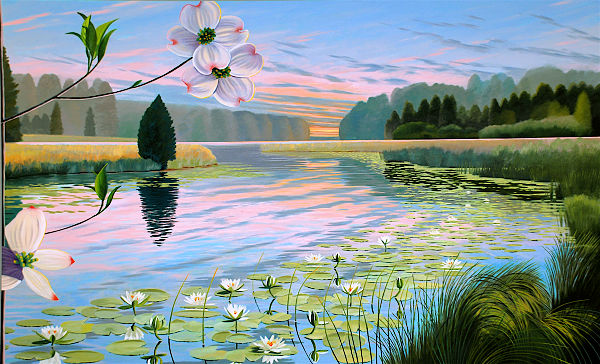 """David Ahlsted - Right Panel , """"Spring"""", Oil on Canvas, 6' 6"""" x10' 6"""""""