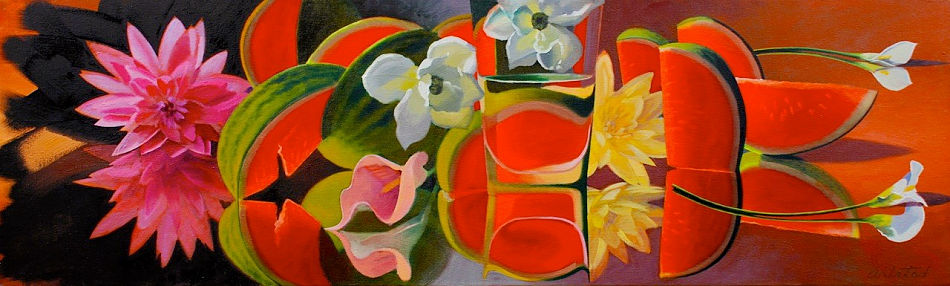 "David Ahlsted - ""White Lily & Melons"", Oil on Canvas, 20 x 66"""