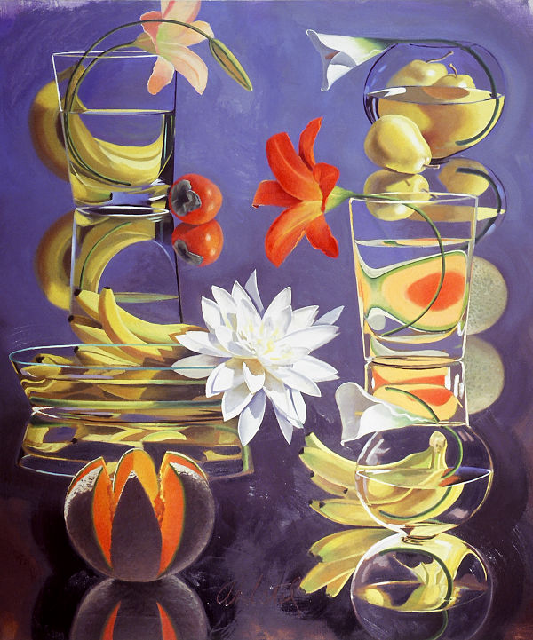 "David Ahlsted - ""White Lotus"", Oil on Canvas, 60 x 68"""