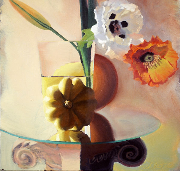 """David Ahlsted - """"Yellow Squash & Poppies"""", Oil on Canvas, 24 x 24"""" - SOLD"""
