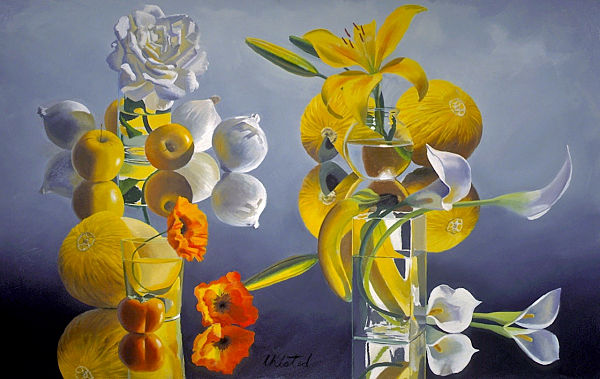 """David Ahlsted - """"Yellow & White"""", Oil on Canvas, 48 x 80"""" - SOLD"""