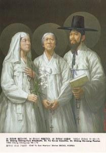 Korean martyrs 8 Sts__Chong_Chong-hye_Elisabeth,_Yu_So-sa_Caecilia,_Chong_Ha-sang_Paulus_(Chung_Chang-sup,_98x75,_1985)