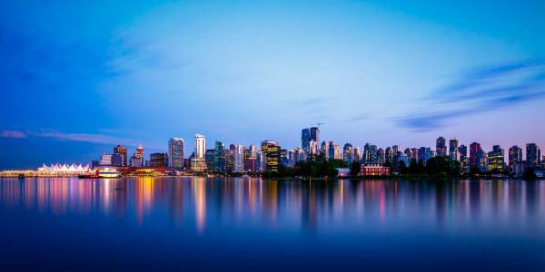 Vancouver skyline at night, as seen from the water.