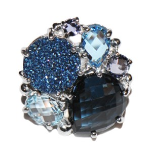Anzie Bouquet Ring – London Blue Topaz & Blue Drusy