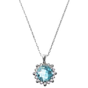 Anzie Dew Drop Mini Round Necklace Blue Topaz and Silver