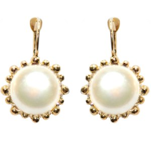 Anzie Dew Drop Snowflake Earrings Water Pearl and Gold