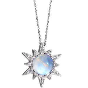 Anzie Aztec Starburst Necklace Moonstone and Silver