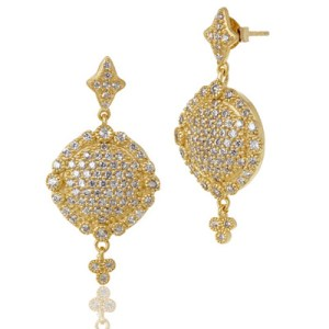 Freida Rothman Pave Disc Drop Earrings