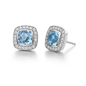 Lafonn Blue Topaz Earrings with Clear Simulated Diamonds