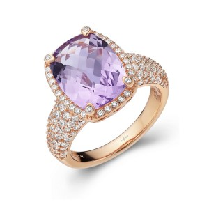 Lafonn Amethyst Ring with Clear Simulated Diamonds