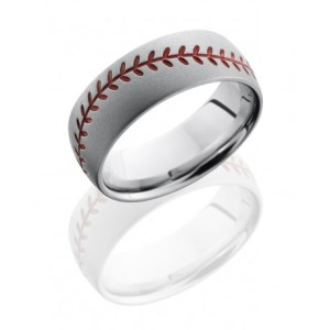 Men's Cobalt Chrome Band with Baseball Pattern