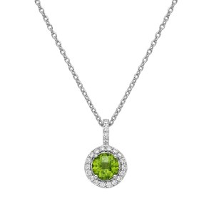 Lafonn Peridot Pendant Necklace with Clear Simulated Diamonds