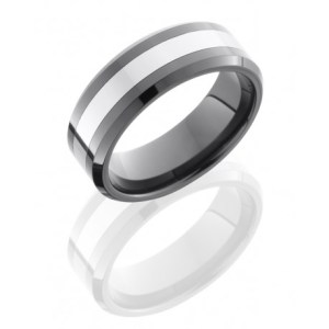 Lashbrook Ceramic and Tungsten Beveled Band
