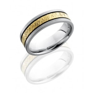 Flat mens band with 14K yellow gold center