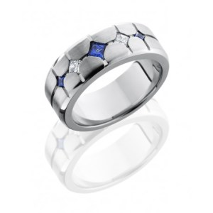 mens band with sapphires and diamonds