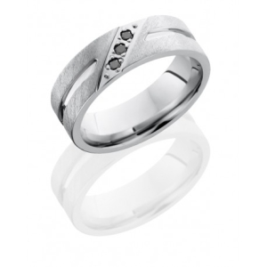 mens wedding band with angled bead set black diamonds
