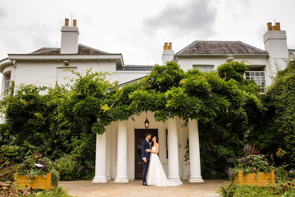 Bride & Groom in front of Pembroke Lodge, Richmond Park, London