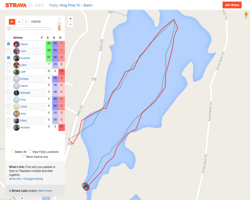 Comparing swim tracks. I'm the red and the first place in our age group is green.