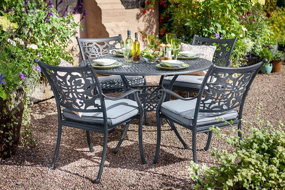 celtic aria 4 seater round garden dining set