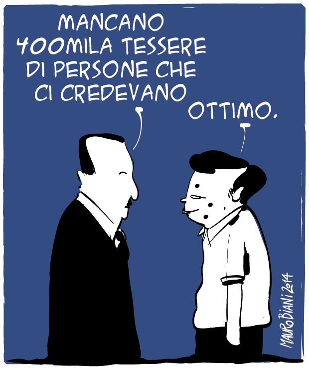 La vignetta di Mauro Biani, sul tesseramento PD.