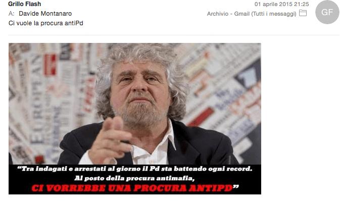 Sì, ricevo mail dal blog di Grillo. Lo ammetto.